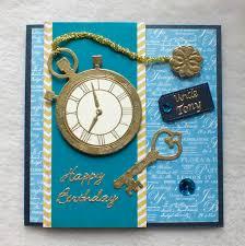 pocket watch die cut and heat embossed birthday card handmade