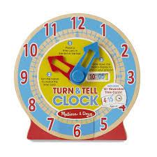 amazon com melissa u0026 doug turn u0026 tell wooden clock educational