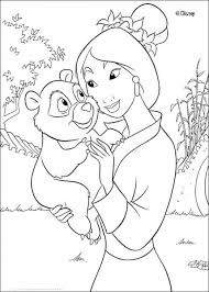 princess mulan holding baby panda coloring disney