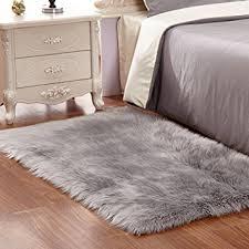 Imitation Sheepskin Rugs Faux Fur Rug Grey Soft Fluffy Rug Shaggy Rugs Faux Sheepskin Rugs