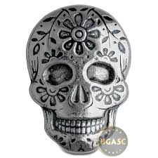 silver buy 2 oz silver day of the dead sugar skull monarch poured 999