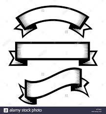 engraved ribbon retro vintage engraving style ribbon vector set stock vector