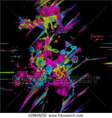 neon party clip of neon party girl k20646232 search clipart