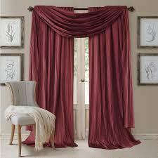 semi opaque red rod pocket 2 window curtain panel 52 in w x 84
