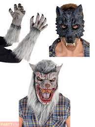 Werewolf Halloween Costumes Werewolf Fancy Dress Wolf Mask Gloves Latex Mens Teen