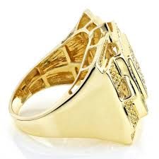 mens gold ring solid 10k gold rings yellow diamond mens ring 1 11ct
