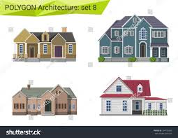 polygonal style houses buildings set countryside stock vector
