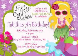 hula mermaid pool party invitation luau pool party