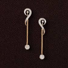 stylish earrings chain dangling earrings 14k yellow gold and diamond