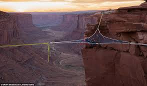 andy lewis suspends web of tightropes 400ft above utah desert
