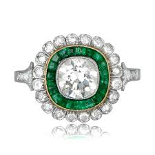 floral engagement rings 1 05ct diamond and emerald floral engagement ring