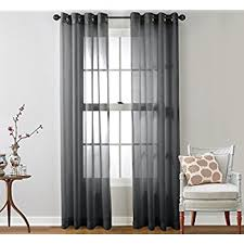 Grey Sheer Curtains Hlc Me Charcoal Grey 2 Pack 108 Inch X 95 Inch