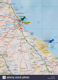 North East Map Road Map Of The North East Coast Of England With Map Pins Stock