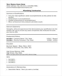 Plumber Resume Sample by 9 Plumber Resumes Free Word Pdf Format Download Free