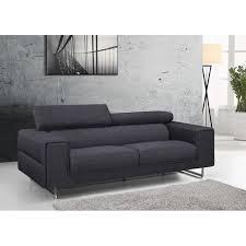canapé moderne 3 places tissu anthracite avec têtières ken