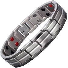 health bracelet titanium images Mens titanium negative ion magnetic bracelet with 4 bio elements jpg