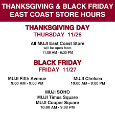 muji usa on thanksgiving and black friday store hours