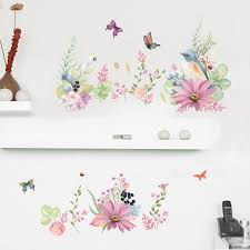 birds on the colorful flowers butterfly wall border decal stickers
