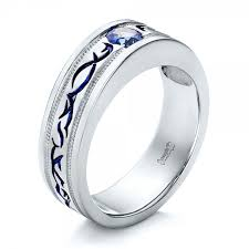 men s wedding band custom engraved blue sapphire men s wedding band 102213
