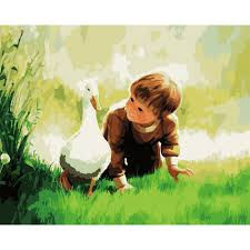 people painting walls clip art diy little boy and duck painting by oil paint modern oil painting by numbers art wall mural picture decoration in painting calligraphy from home garden