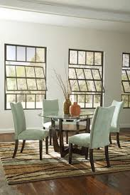furniture casual dining room with ligt green parson chairs