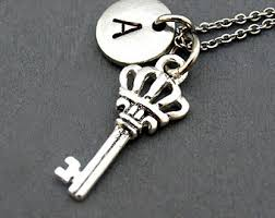 Monogram Key Necklace Crown Key Necklace Etsy