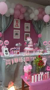 four pink grey elephant mini diaper cakes baby shower centerpiece