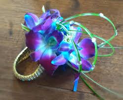 blue orchid corsage prom flowers y h s prom wrap up orchids