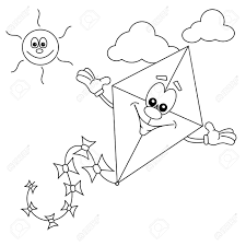cartoon kite outline for colouring in book royalty free cliparts