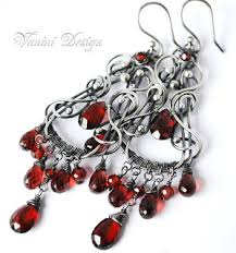 Garnet Chandelier Earrings Vanini Design Crimsonia Sterling Silver Garnet
