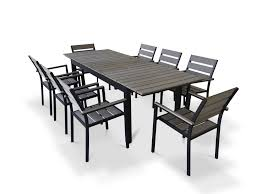Patio Dining Set by 9 Piece Eco Wood Extendable Outdoor Patio Dining Set Rustic Gray