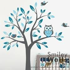 kids nursery vinyl wall decal art tree with owl and birds