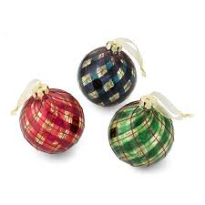 tartan swirl ornaments set of 6 williams sonoma