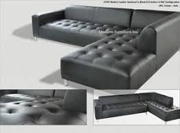 Leather Sectional Couch With Chaise 2 Pieces Set Modern Contemporary Black Leather Sectional Sofa