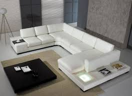 sofa u modern u shape sectional sofa in white bonded leather modern
