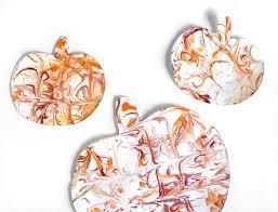 shaving cream marbled pumpkins