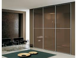 three panel sliding glass door brown lacquered sliding glass door wardrobe with three panels and