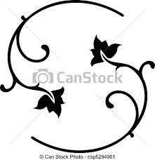 vector clip of black floral ornaments vector illustration