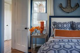 Blue And White Bedroom Wallpaper Handsome Kid Blue And Orange Bedroom Decoration Using Patterned
