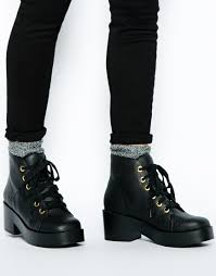 black lace up motorcycle boots asos rocket lace up ankle boots in black lyst