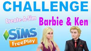 sims freeplay create a sim challenge barbie u0026 ken youtube