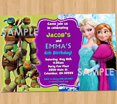 jake and the neverland pirates invite double birthday invitation tmnt and frozen printable