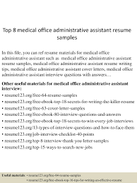 Best Administrative Assistant Resume by 71 Resume Samples For Medical Office Assistant Sample Of