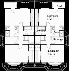 Narrow Lot Duplex Floor Plans by Duplex House Plans Narrow Lot Duplex House Plans D 550