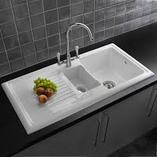 White Kitchen Sink Faucets by Sinks White Color Top Mount Farmhouse Kitchen Sink On Black