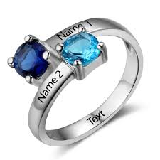 mothers rings with 2 stones personalized sterling silver 2 s promise ring
