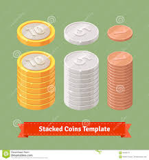 gold silver and copper stacked coins stock vector image 64566171