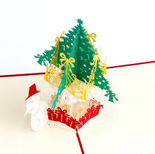 3d pop up handmade christmas card snow man christmas tree happy