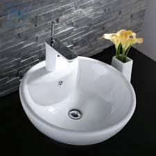 white round ceramic vanity art basin porcelain bathroom vessel