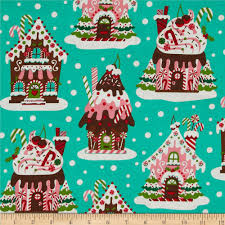 Home Decor Print Fabric by Michael Miller Holiday Gingerbread Houses Aqua Discount Designer